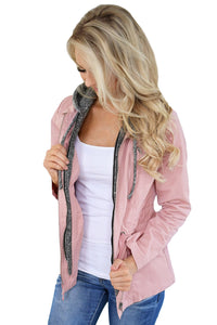 Contrast Hooded Mauve Hiking Jacket