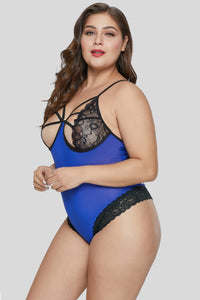 Hollow-out Lace Cup Plus Size Teddy Lingerie