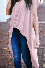Load image into Gallery viewer, Pink Stylish Drape High Low Top