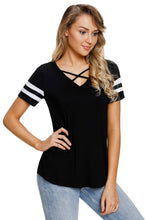 Load image into Gallery viewer, Varsity Striped Short Sleeve Black V Neck T-shirt