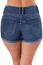 Load image into Gallery viewer, Blue Triple Button High Waisted Denim Shorts