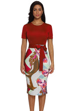 Load image into Gallery viewer, Red Bowknot Short Sleeve Printed Sheath Dress