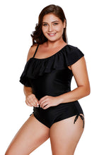 Load image into Gallery viewer, Black Spaghetti Strap One Shoulder Frill Teddy Swimsuit