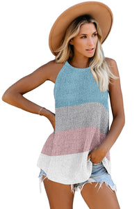 Sky Blue Color Block Striped Knit Tank Top