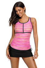 Load image into Gallery viewer, Pink Filtered Stripe Mesh Racherback Tankini Swimsuit