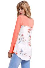 Load image into Gallery viewer, Orange Crisscross Neck Floral Back Long Sleeve Top