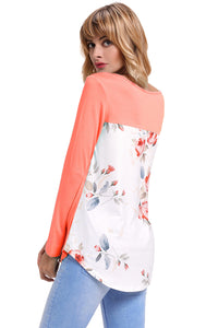 Orange Crisscross Neck Floral Back Long Sleeve Top
