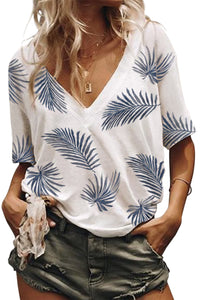 White Casual V Neck Plant Print Tee