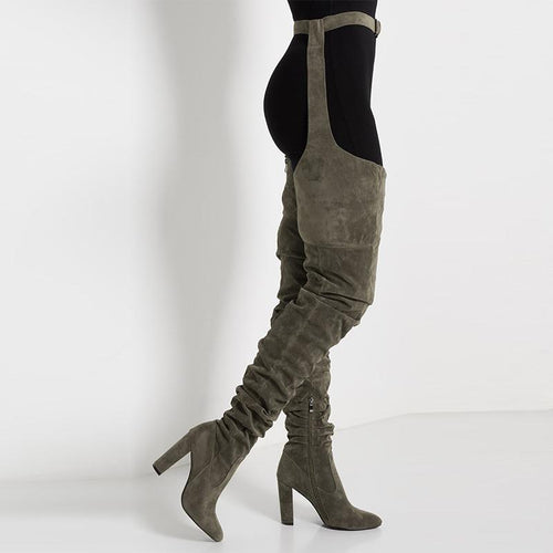 2020 Fashion Women Boots Over Knee Long Boots Faux Suede Comfort Block Heels Slim Tight Women Over The Knee High Heel Boots Green