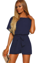 Load image into Gallery viewer, Blue Over The Top Belted Playsuit