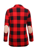 Load image into Gallery viewer, Red Suede Elbow Patch Long Sleeve Plaid Cardigan