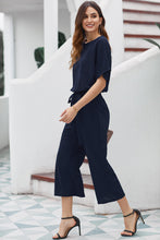 Load image into Gallery viewer, Blue Always Chic Belted Culotte Jumpsuit