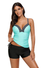 Load image into Gallery viewer, Mint Bralette Tankini Top with Shorts Swimsuit