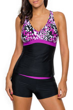 Load image into Gallery viewer, Purple White Spots 2pcs Tankini Bathing Suit