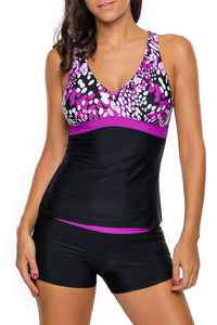 Purple White Spots 2pcs Tankini Bathing Suit