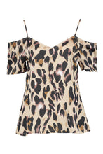 Load image into Gallery viewer, Brown Leopard Print Cold Shoulder Top