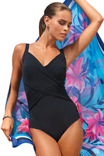 Load image into Gallery viewer, Black Pleated Cross Wrap Front Maillot