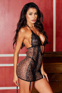 Black Animal Instinct Garter Chemise Set