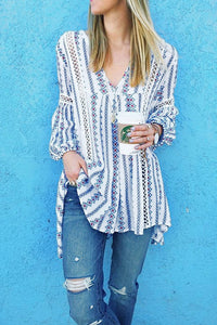 White Long Sleeve V Neck Hollow Out Boho Floral Blouse