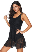 Load image into Gallery viewer, Black Ruched Lace Patterned Swimdress