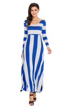 Load image into Gallery viewer, Blue Bold Stripe Long Sleeve Maxi Dress