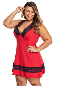 Red Plus Size Babydoll with Lace Detail