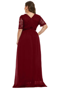 Red Plus Size Chiffon Evening Party Maxi Dresses