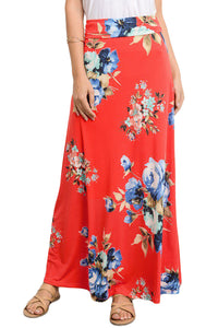 Orange Vibrant Floral Print Long Maxi Skirt