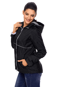 Black Women Zipper Lapel Suit Blazer with Foldable Sleeve