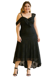 Black Asymmetric Ruffle Shoulder Design Plus Size Lace Dress