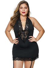 Load image into Gallery viewer, Black  V Neck Halter Open Back Plus Size Chemise