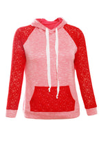 Load image into Gallery viewer, Coral Lace Accent Kangaroo Pocket Hoodie