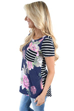 Load image into Gallery viewer, Navy Floral Back Striped Casual T-shirt