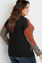 Load image into Gallery viewer, Orange Plus Size Animal Print Splice Long Sleeve Pullover Sweatshirt