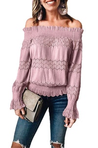 Pink Off Shoulder Ruffle Long Sleeve Smocked Waist Lace Crochet Blouse