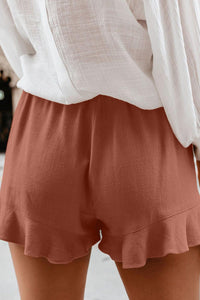 Rust Red Linen Cotton Pocketed Flutter Shorts