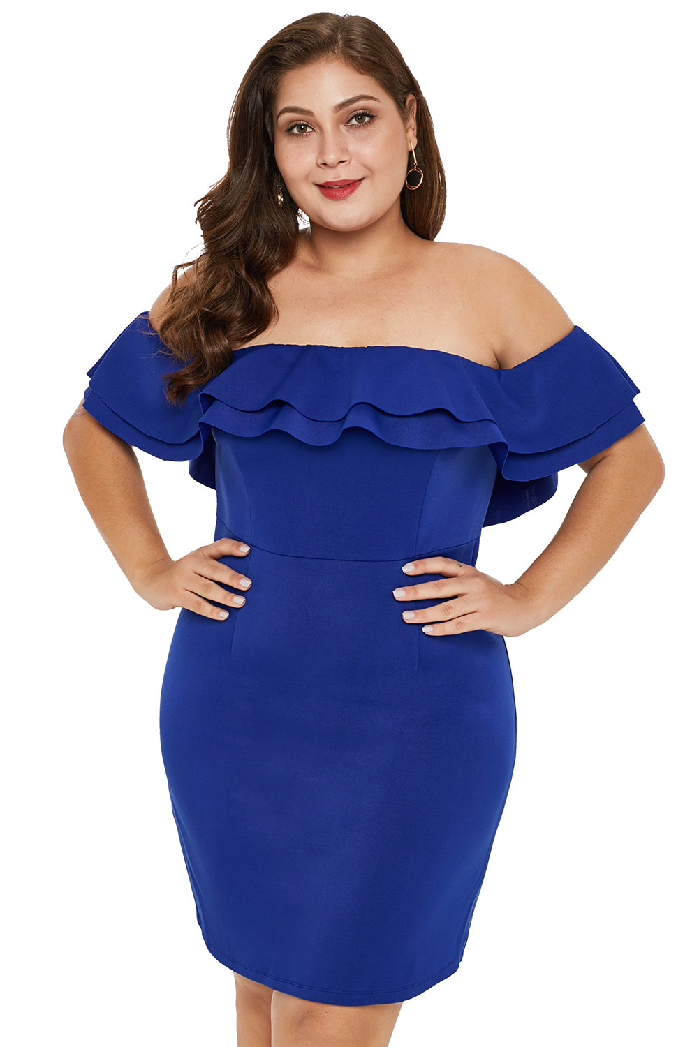 Blue Layered Ruffle Off Shoulder Plus Size Dress