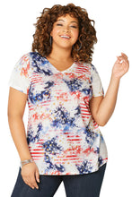 Load image into Gallery viewer, Blue American Dream Tie Dye Plus Size Tee