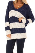 Load image into Gallery viewer, Blue V Neck Loose Color Block Sweater
