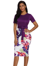 Load image into Gallery viewer, Purple Bowknot Short Sleeve Printed Sheath Dress