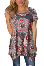 Load image into Gallery viewer, Taupe Boho Floral Irregular Hem Short Sleeve Blouse