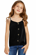 Load image into Gallery viewer, Black Girls Sleeveless Button Down Cami Tank