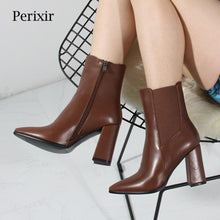 Load image into Gallery viewer, 2020 Autumn High Heel Boots Women Short Boots Brand Designer Fashion Office Lady Shoes Nysiani Pointed Toe Elastic Band Shoes