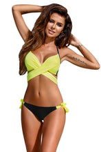 Load image into Gallery viewer, Bright Yellow Wrap Front Halter Bikini Tie Side Bottom Swimsuit