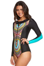 Load image into Gallery viewer, Sky Blue Aztec Print One-piece Swimwear