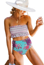 Load image into Gallery viewer, Rose High Waist Printed Smocked Bikini