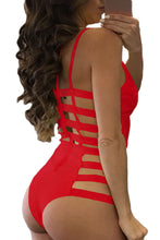 Load image into Gallery viewer, Red Strappy Cutout One Piece Bathing Suit