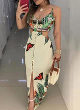 Load image into Gallery viewer, Beige Spaghetti Strapless Hollow-out Flower Printed Maxi Dress