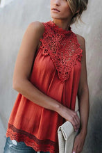 Load image into Gallery viewer, Red Crochet Lace Sleeveless Crew Neck Tank