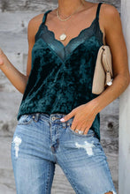 Load image into Gallery viewer, Green Velvet Lace Cami Tank